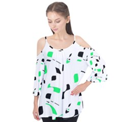 Green, Black And White Pattern Flutter Tees