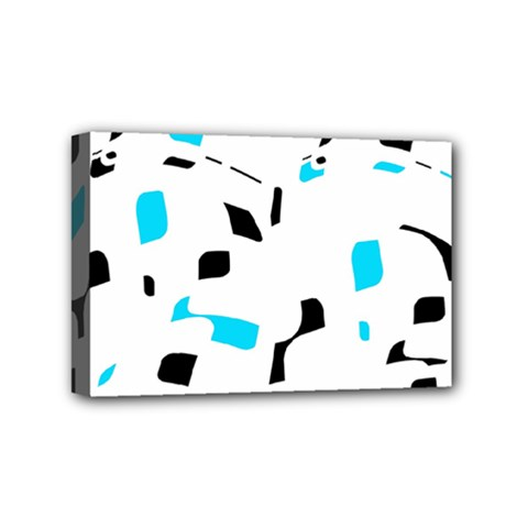 Blue, Black And White Pattern Mini Canvas 6  X 4  by Valentinaart