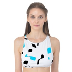 Blue, Black And White Pattern Tank Bikini Top by Valentinaart