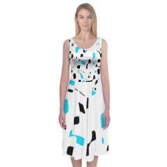 Blue, Black And White Pattern Midi Sleeveless Dress by Valentinaart