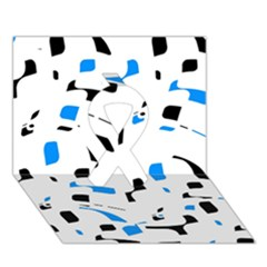 Blue, Black And White Pattern Ribbon 3d Greeting Card (7x5) by Valentinaart