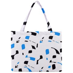 Blue, Black And White Pattern Mini Tote Bag by Valentinaart