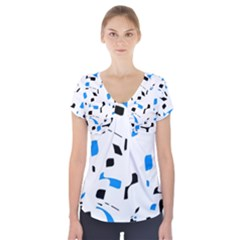 Blue, Black And White Pattern Short Sleeve Front Detail Top by Valentinaart