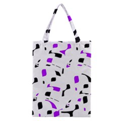 Purple, Black And White Pattern Classic Tote Bag by Valentinaart