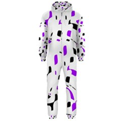 Purple, Black And White Pattern Hooded Jumpsuit (men)  by Valentinaart