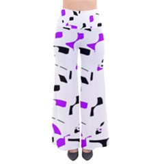 Purple, Black And White Pattern Pants by Valentinaart