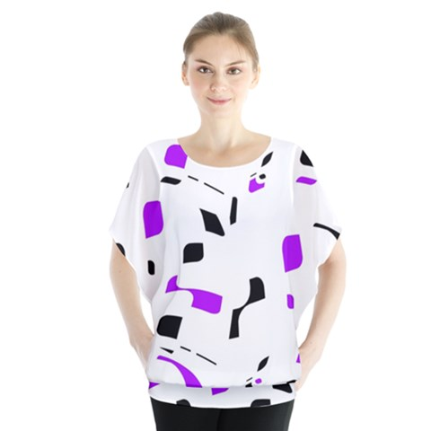 Purple, Black And White Pattern Blouse by Valentinaart