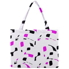 Magenta, Black And White Pattern Mini Tote Bag by Valentinaart
