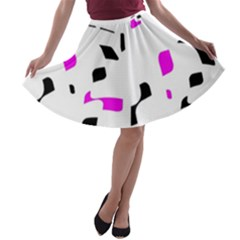 Magenta, Black And White Pattern A-line Skater Skirt by Valentinaart