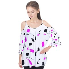 Magenta, Black And White Pattern Flutter Tees by Valentinaart