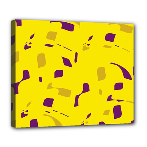 Yellow And Purple Pattern Deluxe Canvas 24  X 20   by Valentinaart