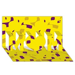 Yellow And Purple Pattern Mom 3d Greeting Card (8x4) by Valentinaart