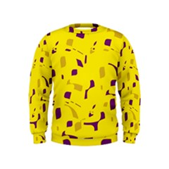 Yellow And Purple Pattern Kids  Sweatshirt by Valentinaart