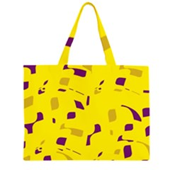 Yellow And Purple Pattern Zipper Large Tote Bag by Valentinaart