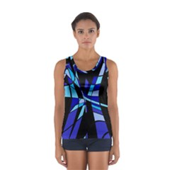 Blue Abstart Design Women s Sport Tank Top  by Valentinaart