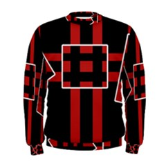 Red And Black Geometric Pattern Men s Sweatshirt by Valentinaart