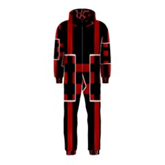 Red And Black Geometric Pattern Hooded Jumpsuit (kids) by Valentinaart
