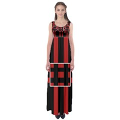 Red And Black Geometric Pattern Empire Waist Maxi Dress by Valentinaart