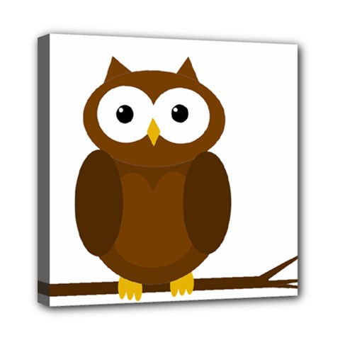 Cute Transparent Brown Owl Mini Canvas 8  X 8  by Valentinaart