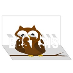 Cute Transparent Brown Owl Best Sis 3d Greeting Card (8x4) by Valentinaart