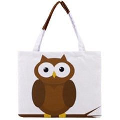 Cute Transparent Brown Owl Mini Tote Bag by Valentinaart