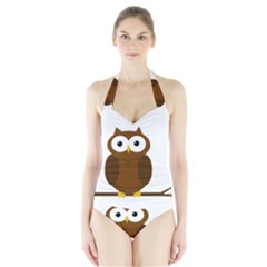 Cute Transparent Brown Owl Halter Swimsuit by Valentinaart
