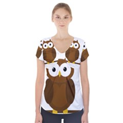Cute Transparent Brown Owl Short Sleeve Front Detail Top by Valentinaart