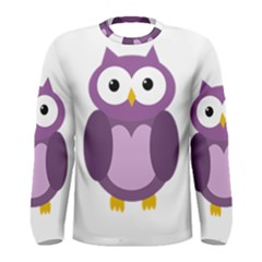 Purple Transparetn Owl Men s Long Sleeve Tee by Valentinaart