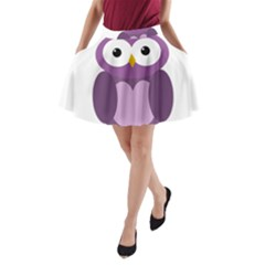 Purple Transparetn Owl A-line Pocket Skirt