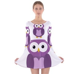 Purple Transparetn Owl Long Sleeve Velvet Skater Dress