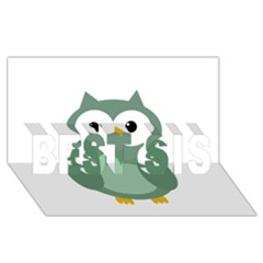 Green Cute Transparent Owl Best Sis 3d Greeting Card (8x4) by Valentinaart
