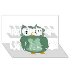 Green Cute Transparent Owl Merry Xmas 3d Greeting Card (8x4) by Valentinaart