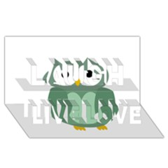 Green Cute Transparent Owl Laugh Live Love 3d Greeting Card (8x4) by Valentinaart