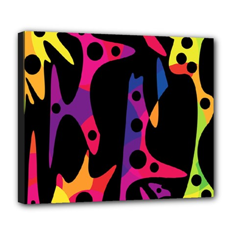 Colorful Pattern Deluxe Canvas 24  X 20   by Valentinaart