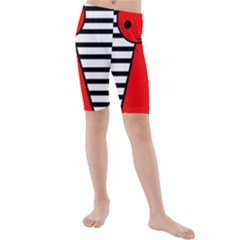 Red Pawn Kid s Mid Length Swim Shorts by Valentinaart