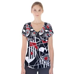 Artistic Abstraction Short Sleeve Front Detail Top by Valentinaart