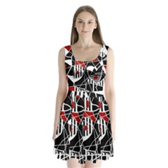 Artistic Abstraction Split Back Mini Dress