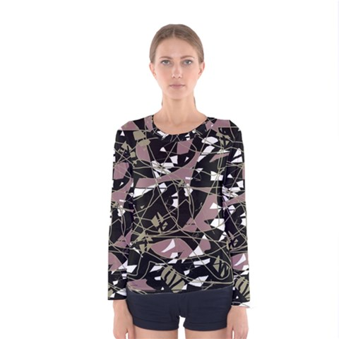 Artistic Abstract Pattern Women s Long Sleeve Tee by Valentinaart