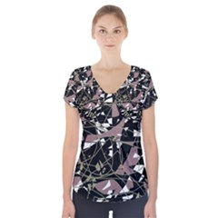 Artistic Abstract Pattern Short Sleeve Front Detail Top by Valentinaart