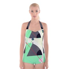 Decorative Abstract Design Boyleg Halter Swimsuit