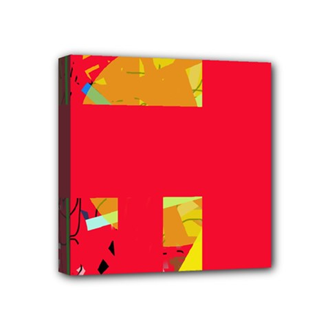 Red Abstraction Mini Canvas 4  X 4  by Valentinaart