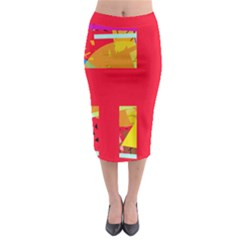 Red Abstraction Midi Pencil Skirt