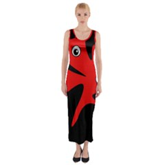 Red Amoeba Fitted Maxi Dress by Valentinaart
