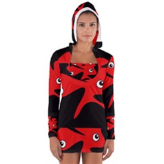 Red Amoeba Women s Long Sleeve Hooded T-shirt by Valentinaart