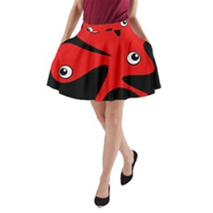 Red Amoeba A-line Pocket Skirt by Valentinaart