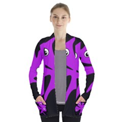 Purple Amoeba Women s Open Front Pockets Cardigan(p194) by Valentinaart