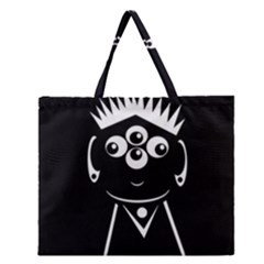 Black And White Voodoo Man Zipper Large Tote Bag by Valentinaart