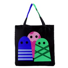 Three Monsters Grocery Tote Bag by Valentinaart