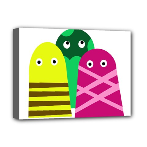 Three Mosters Deluxe Canvas 16  X 12   by Valentinaart