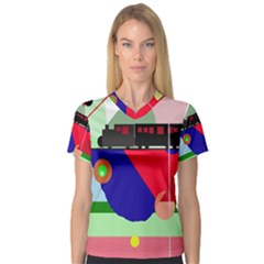 Abstract Train Women s V Neck Sport Mesh Tee by Valentinaart